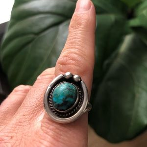 Old pawn sterling and turquoise ring